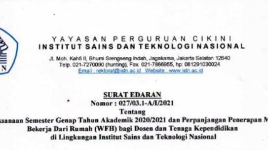 Surat Edaran : 027/03.1-A/I/2021, Tentang Pelaksanaan Semester Genap Tahun Akademik 2020/2021