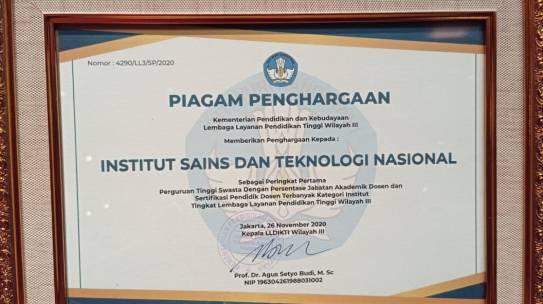 ISTN Mendapatkan Penghargaan dari Kementrian Pendidikan dan kebudayaan Lembaga Layanan Pendidikan Tinggi Wilayah III